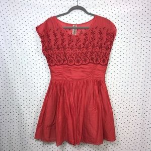 Free People Orange Red Boho Sleeveless Mini Dress